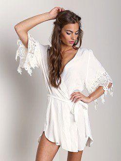 Stone Cold Fox Robe White Lace Trim