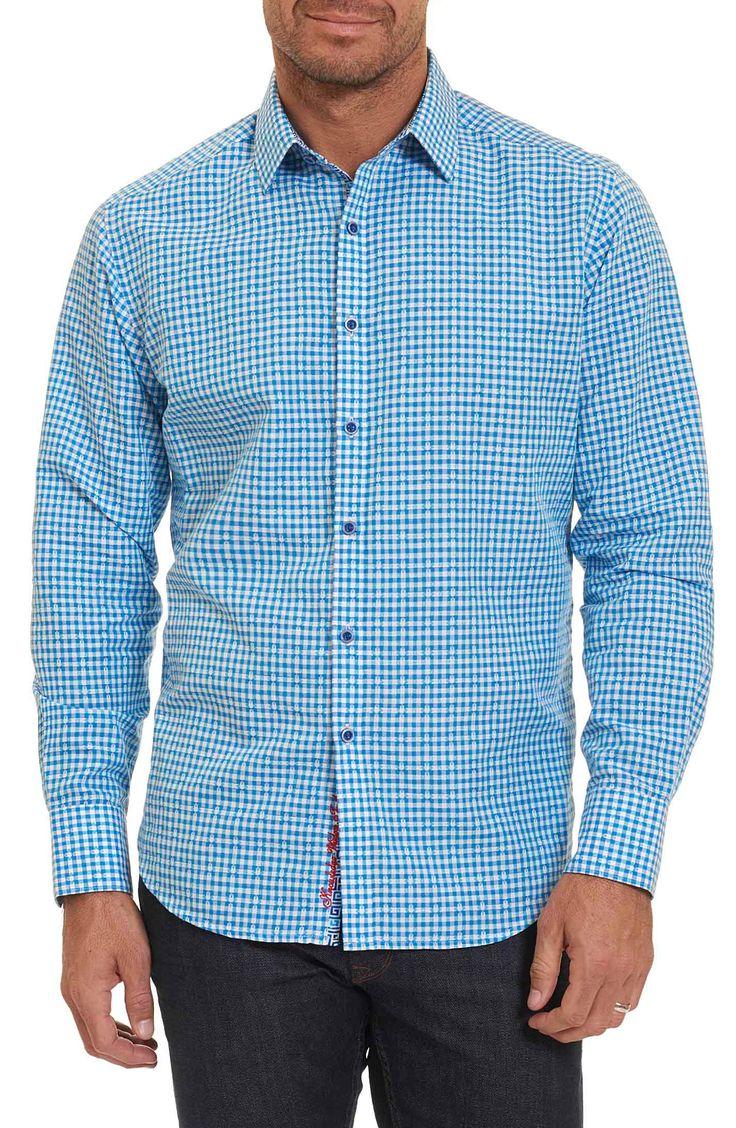 New Robert Graham La Monica Classic Fit Gingham Linen and Cotton Sport Shirt ,ORANGE fashion online. [$228]newtopfashion top<<