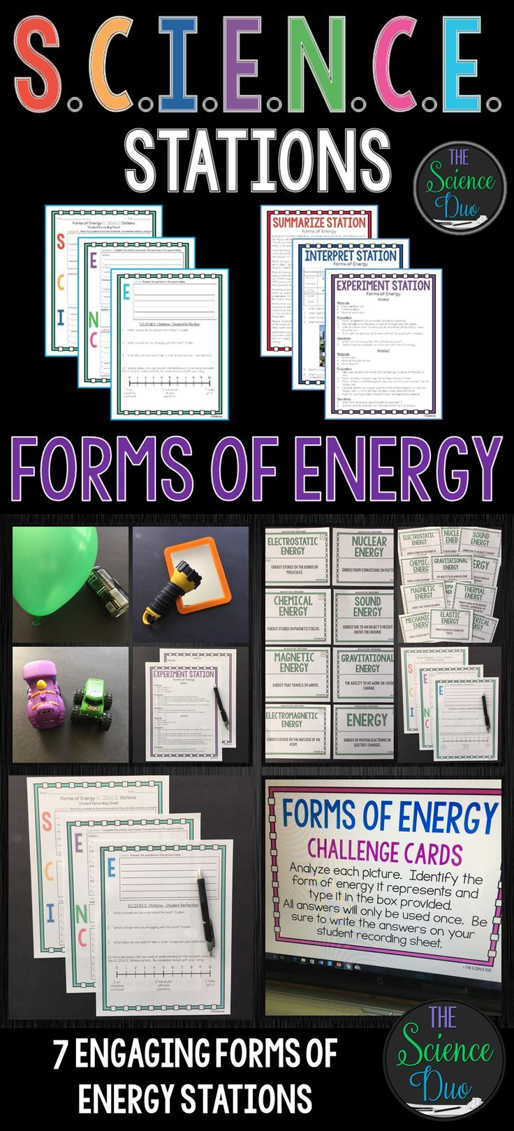 This Forms of Energy S.C.I.E.N.C.E. Station activity is designed to get your students engaged, collaborating, and moving in your daily lesson. Each station provides a different method for reinforcing important science content.