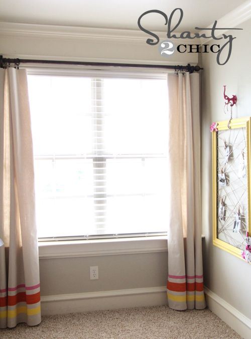 Curtains made from a drop cloth...love the stripes on the bottom.