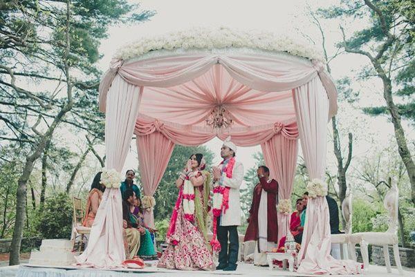 Indian mandap, fabric mandap white white flowers #indianwedding