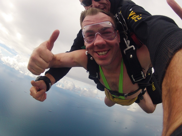 Skydiving in a mankini - brave man!