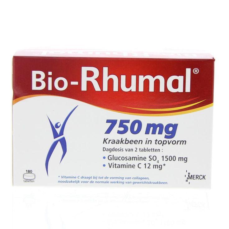 Merck Bio-Rhumal 750mg Tabletten Gewrichten 180Tabl  Bio-Rhumal Glucosaminesulfaat 750mg Tabletten. Bewegen zich verplaatsen de noodzakelijke dagelijkse bewegingen zonder moeite uitvoeren allemaal activiteiten die nauw verbonden zijn met de gezondheid van onze gewrichten. De soepelheid en beweegbaarheid hangen in grote mate af van de gezondheid van ons kraakbeen dat als kussen fungeert en zo alle schokken kan opvangen en dempen. Met de leeftijd door overgewicht door een ongeval of bij…