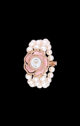 WATCH IN 18K PINK GOLD, CULTURED PEARLS, OPAL AND DIAMONDS - CHANEL
