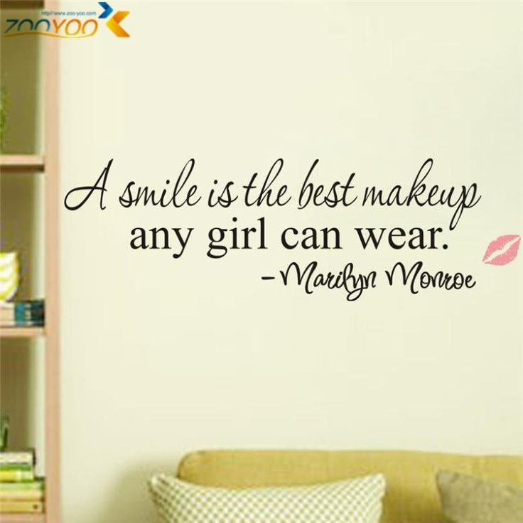 A smile is the best makeup any girl can wear home decor creative wall decals decorative removable vinyl wall stickers