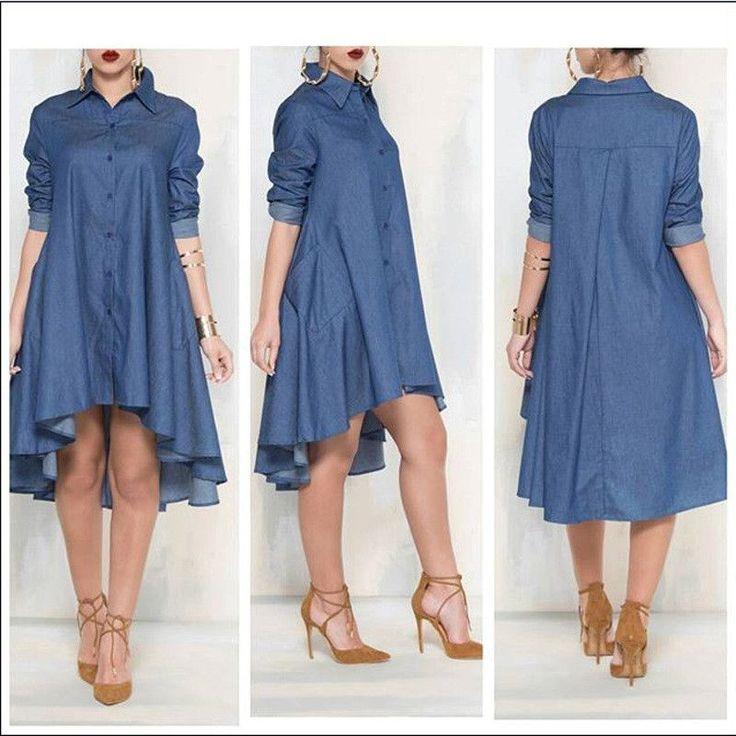 Casual Denim Blue Pockets Shirt Irregular Loose Dress