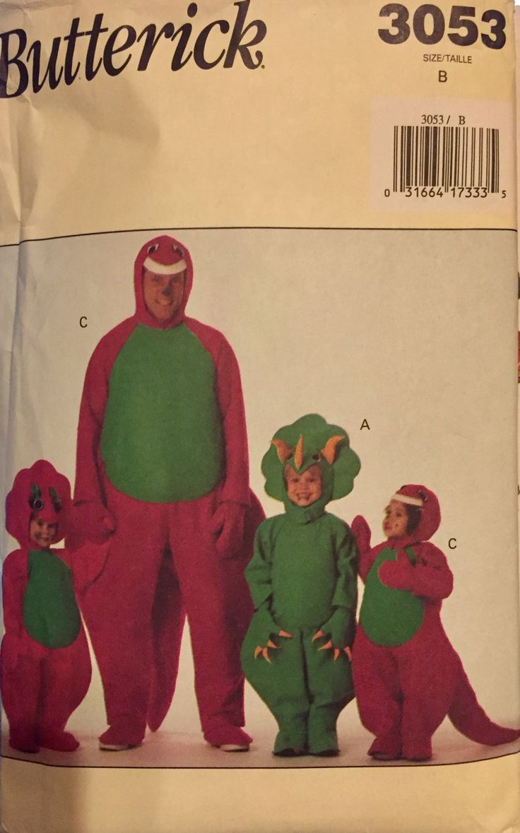 Butterick 3053 Boys Girl Dinosaur Barney Costume Pattern     Very loose-fitting jumpsuit has back Velcro closing, long sleeves, stuffed tail. Narrow h