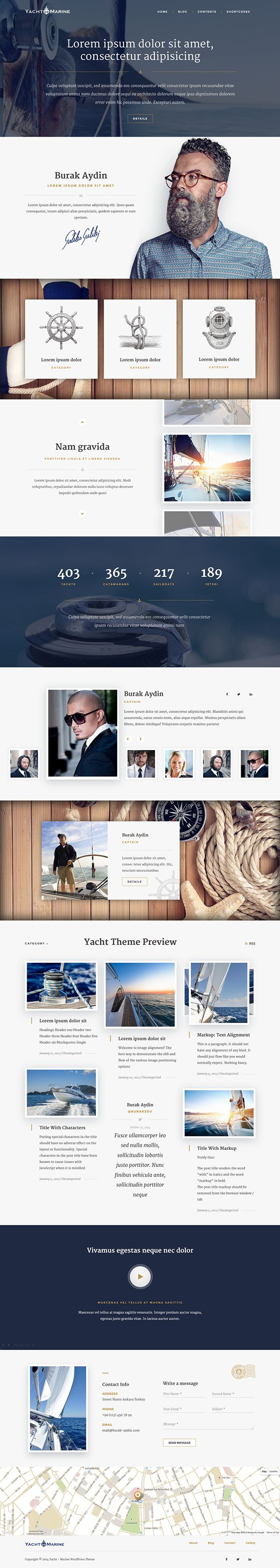 Yacht - Marine WordPress Theme on Behance #wedesign #web #design #layout #userinterface #website < repinned by Alexander Kaiser | visit www.kaiser-alexander.de