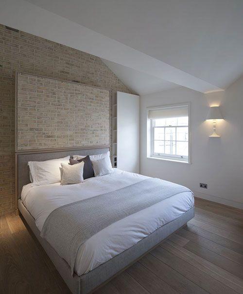 Slaapkamer met handgemaakte bakstenen muur | Slaapkamer ideeën