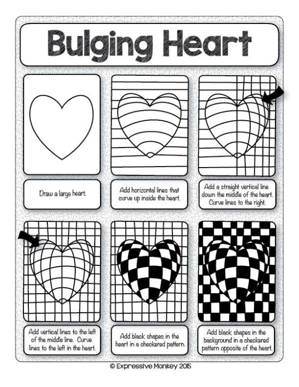 Make this Op Art Heart with step-by-step instructions. Sent some Heart Art for Valentines Day! by dina