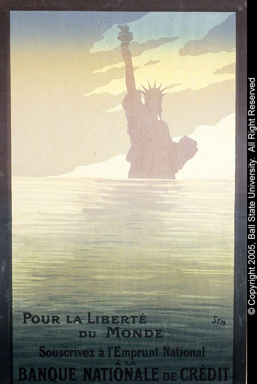 """Pour la Liberte du Monde Souserivez a l'Emprunt National"" - To learn more, visit the World War I Posters from the Elisabeth Ball Collection in the Ball State University Digital Media Repository.  Copyright 2005, Ball State University. All Rights Reserved."
