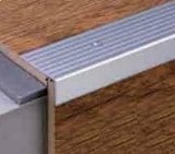 This is an Anodised aluminium retro-fit stair step nosing that can be used on existing laminate, vinyl,tile ,wood or screed stairs to protect the flooring material from getting damaged. It can also be used to cover areas where damage has already occured.This stair step edging protects the stair edges and can be installed after a floor has been laid. Lengthways grooves on the surface ensure firm hold.