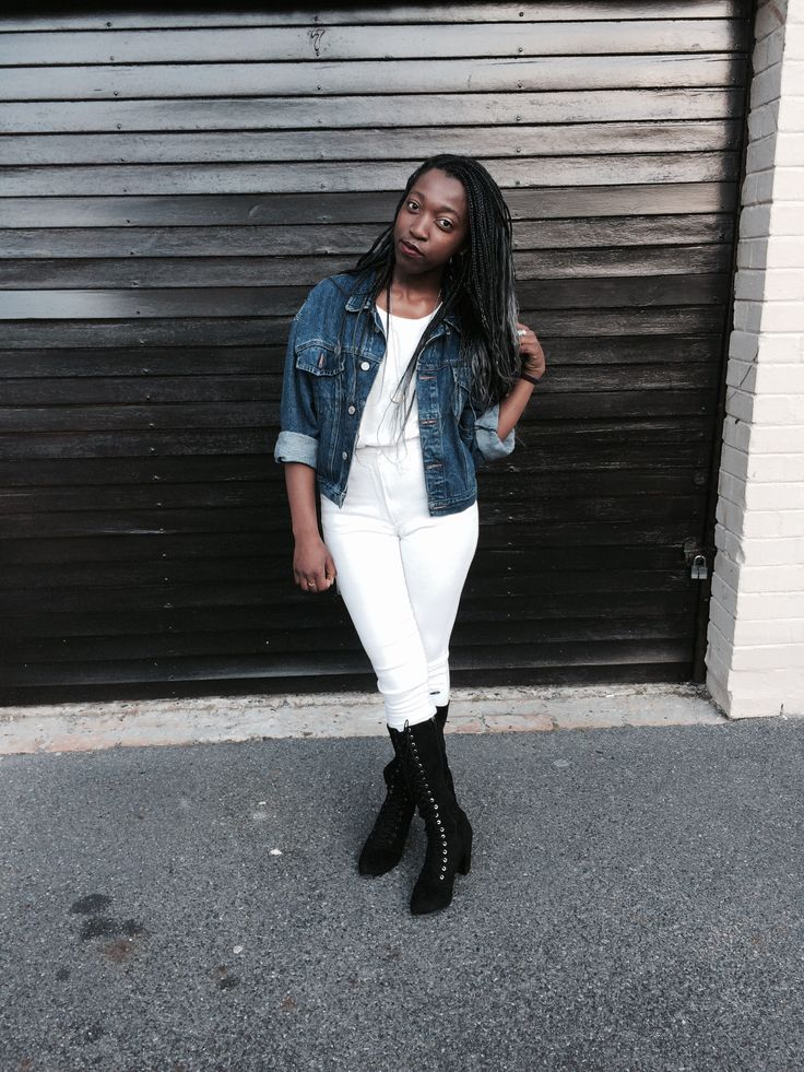 Jacklyn Kawana in her outfit of the day #fashion #style #love #denim #boots #yes #happy #fun #blackgirl #ootd