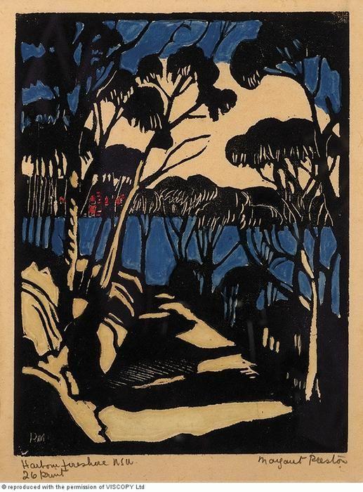 Margaret Preston  Woodblock  'Harbour Foreshore' 1925