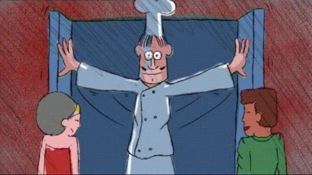Schooltv: Een echte kok - Zing mee met dit liedje! - In dit liedje hoor en zie je wat voor 'lekkers' de kok allemaal kookt. Hij kan alles koken wat de klanten willen. IJs met leverworst, rijst met hagelslag, frikandel met zoute drop... Een echte kok maakt alles klaar! koken eten