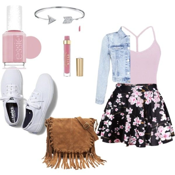 middle school outfit by jadawashington-jw on Polyvore featuring BKE core, Miss Selfridge, Keds, Forever 21, Bling Jewelry and Essie