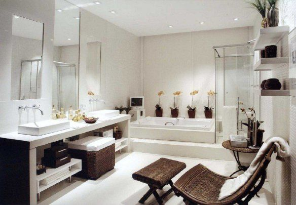 decoration-zen-bathroom-white-jacuzzi shower cubicle-chair-relax-orchids