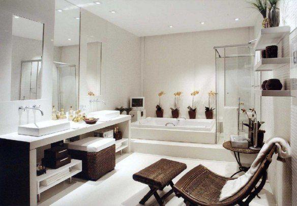 decoration-zen-bathroom-white-jacuzzi shower cubicle-chair-relax-orchids