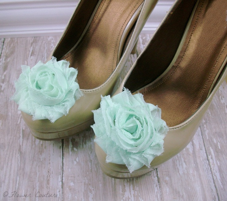 Flower Shoe Clips Mint Shoe Clip Shabby Chic Shoe by FlowerCouture