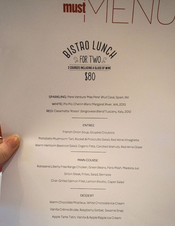 Must Winebar Bistro Lunch Special