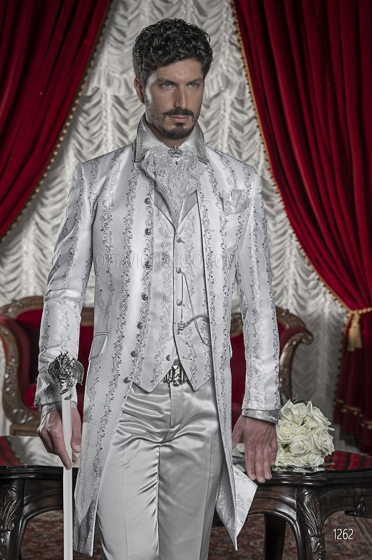 Abito sposo con giacca broccata grigio perla