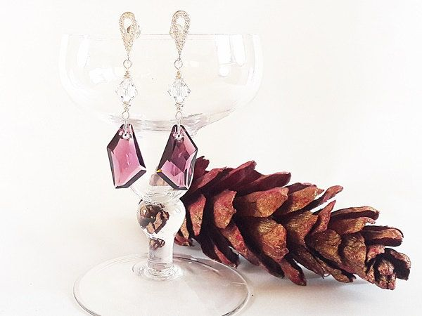 BLACK FRIDAY SALE 50% off coupon code MODO2016 Silver Crystal Earrings, Elegant Gift for Woman, Christmas gift for Her, Christmas Earrings by modotikon on Etsy