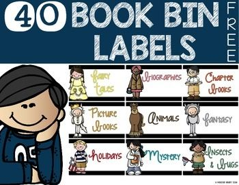 40 FREE book bin labels!Use these book bin labels to help your students properly identify the types of books inside of your classroom library.These book bin labels are a mix of genre and series that I use in my classroom. I hope you find them helpful!Book Bin Labels:1.