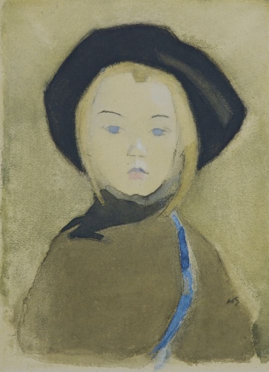 Helene Schjerfbeck (Finland 1862-1946)  Sininauhainen tyttö - Girl with a Blue Ribbon (1943) charcoal, watercolour and gouache on buff paper 46.7 x 34.2 cm