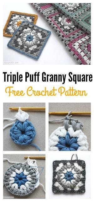 Triple Puff Granny Square Motif Free Crochet Pattern by joy