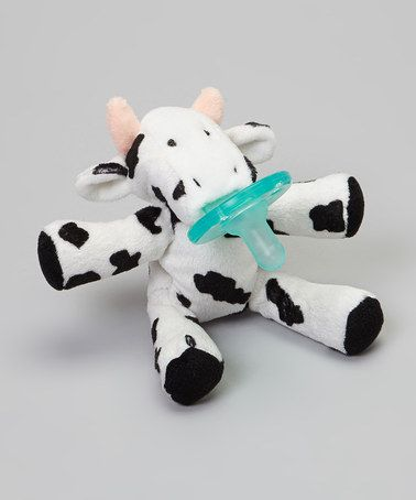 Look what I found on #zulily! Black & White Cow Pacifier Plush Toy #zulilyfinds