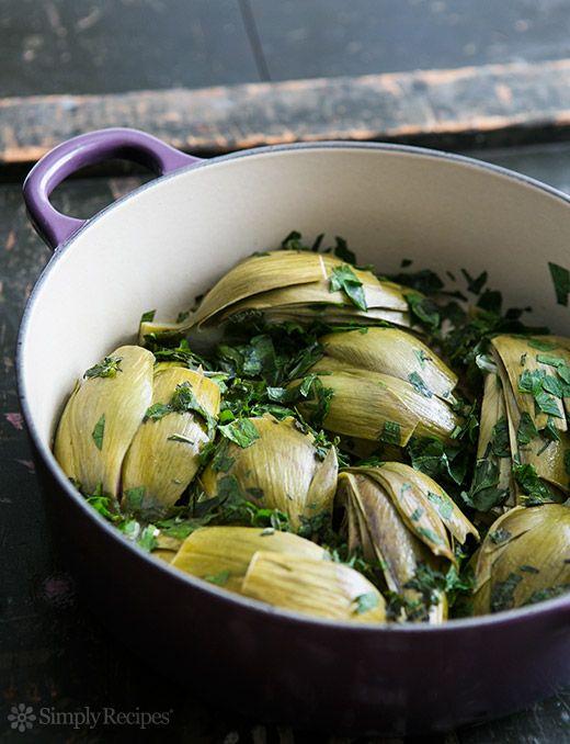 Braised Marinated #Artichokes Recipe on SimplyRecipes.com shared via https://facebook.com/lowcarbzen