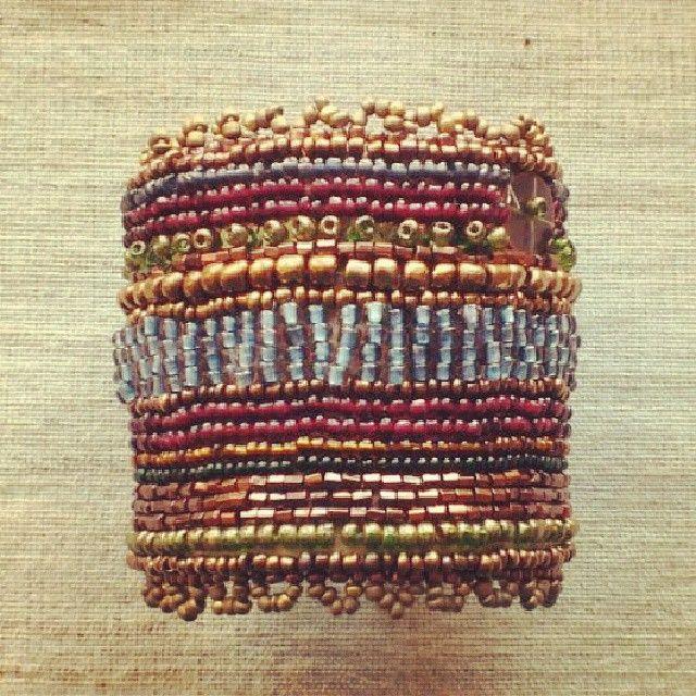 Hand embroided beadwork cuff bracelet