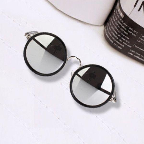 Rimyrah Silver Mirror Vintage Round Frame Sunglasses