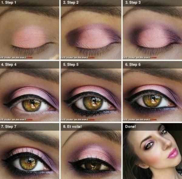 Pink and purple eye shadow tutorial