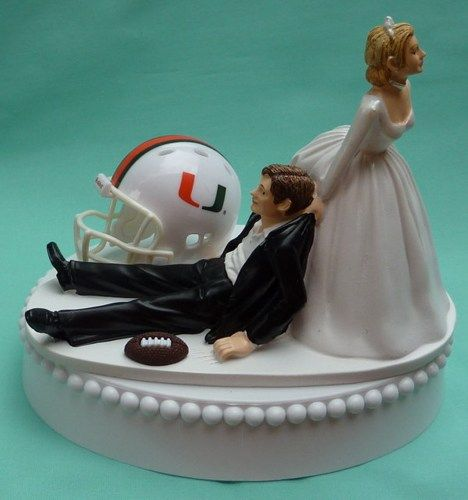 University of Miami Hurricanes UM Football Themed Wedding Cake Topper | WedSet - Wedding on ArtFire