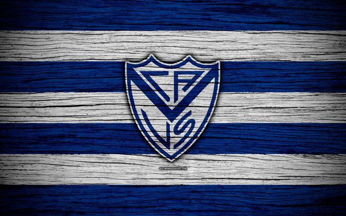 Download wallpapers Velez Sarsfield, 4k, Superliga, logo, AAAJ, Argentina, soccer, Velez Sarsfield FC, football club, wooden texture, FC Velez Sarsfield