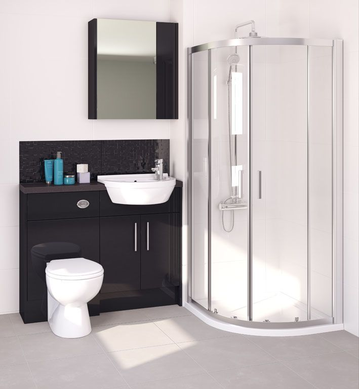 Nisha compact looks stunning in a smaller bathroom and here, even allows you to include a quadrant shower enclosure. Use our recommended sparkle handle for added shine!