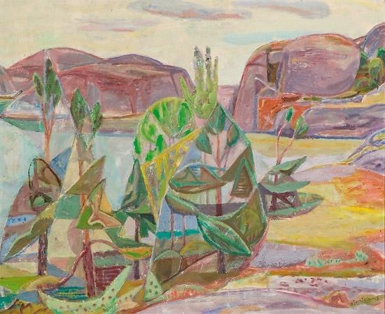 Aage Storstein (1900-1983): Utsikt mot Ronsholmen, Justøy 1963