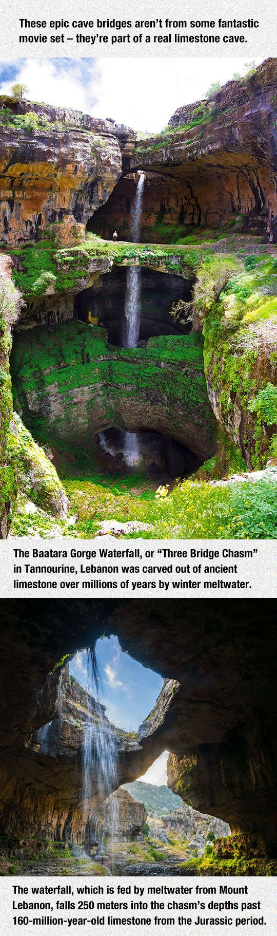 The Cave Of The Three Bridges. Tannourine Lebanon