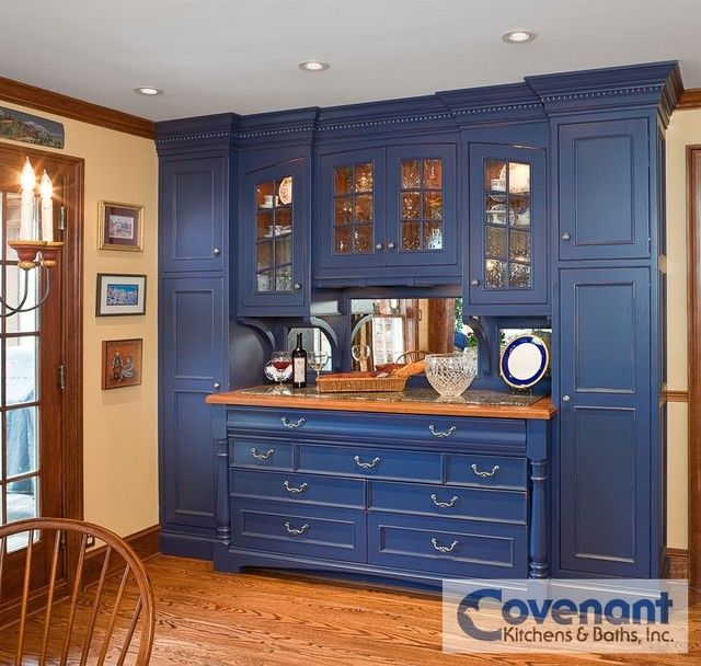 Large Blue Hutch Piece Designed And Installed By Covenant Kitchens Baths