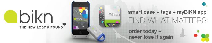 Bikn.  Tags used with a Iphone app to  track items you want to keep up with.  A dog or maybe even a cheating mate.