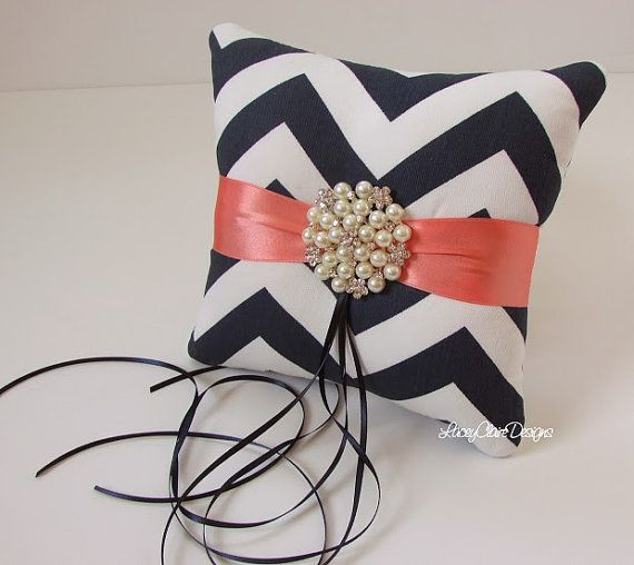 Ring Bearer Pillow Custom Made Navy Chevron by LaceyClaireDesigns, $47.00