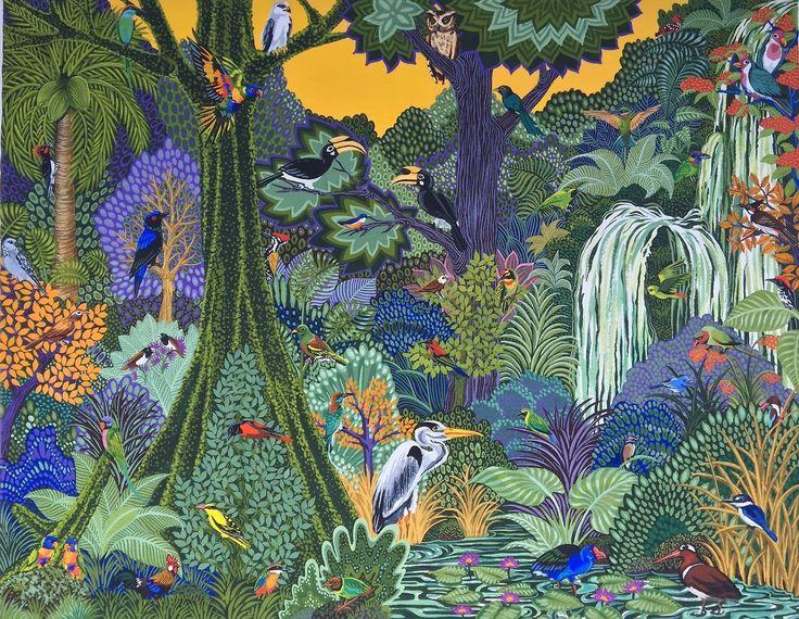 Birds of Singapore (2016) 40cm x 31cm Original painting for Hermès event in Singapore Gouache on paper