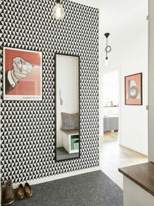 Papier peint graphique pour la déco d'un couloir ou d'une entrée    http://www.homelisty.com/decoration-couloir/