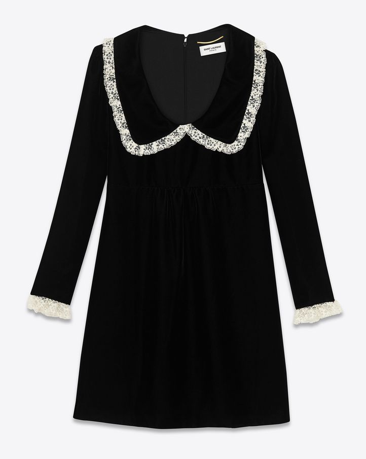 SAINT LAURENT RUFFLED COLLAR BABYDOLL MINI DRESS