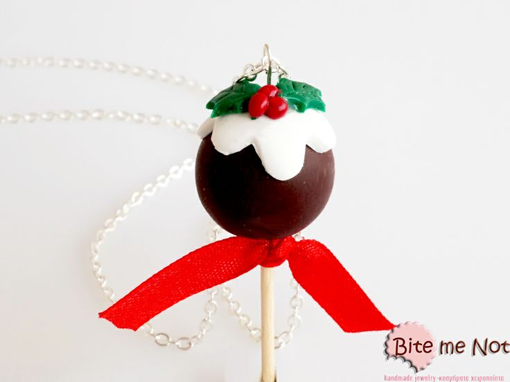 ''Christmas chocolate cake pop'' -Silver plated long chain necklace!  -Chocolate cake pop with wooden handle, vanilla icing and a mistletoe on top!