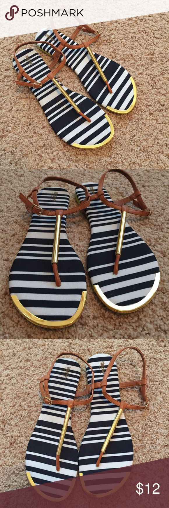 Mossimo Nautical & Neon Sandals Worn Once • True to Size • Navy and White Top • Brown Straps • Gold Details • Neon Yellow Bottom Mossimo Supply Co. Shoes Sandals