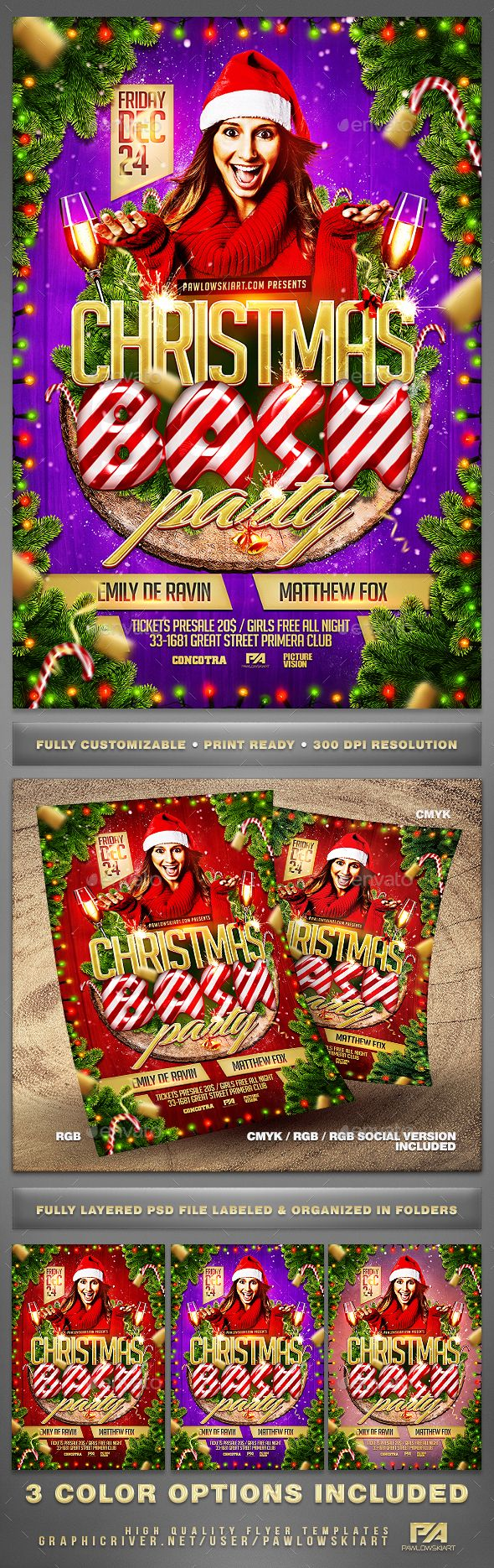Christmas Bash Party Flyer Template - Holidays Events