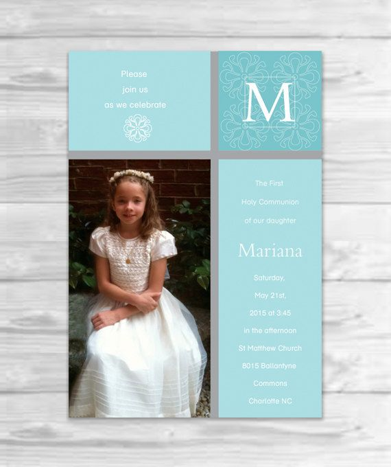 Girl's First Communion Invitations by SimplyLines8 on Etsy