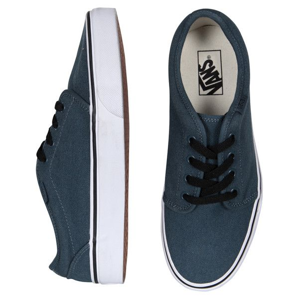 Vans 106 - Steel Blue/True White (925 ARS) ❤ liked on Polyvore featuring shoes, sneakers, vans, sapatos, women, vans shoes, white trainers, vans footwear, white sneakers et white shoes